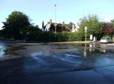 water burst in Old Road Headington