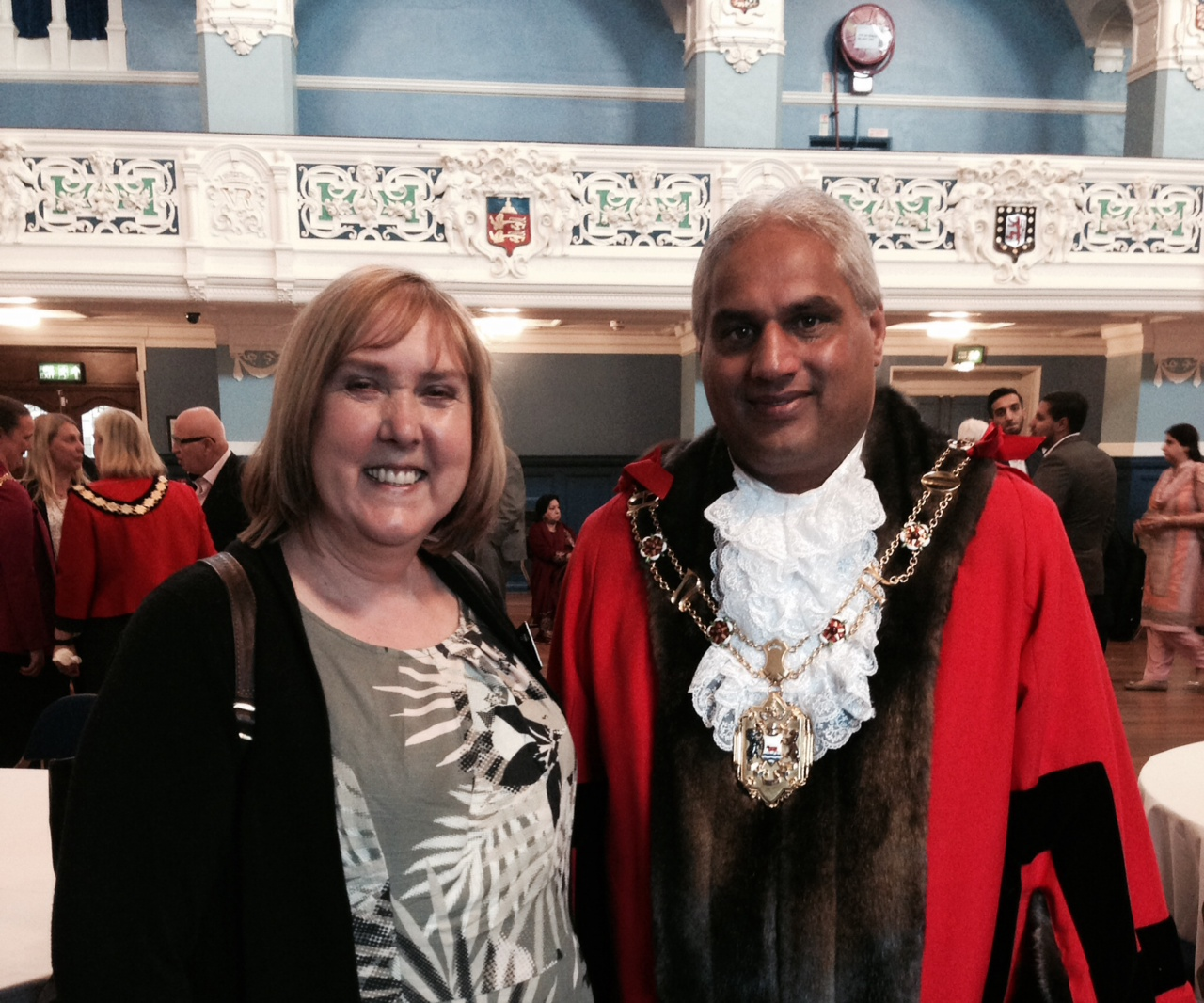 Ruth congratulates Altaf on becoming Lord Mayor of Oxford on 16th May